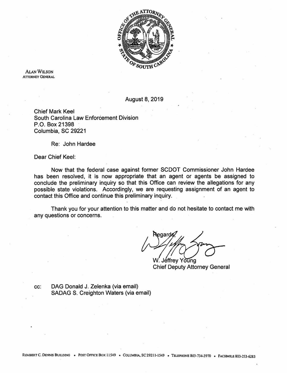 Attorney General's letter to SLED