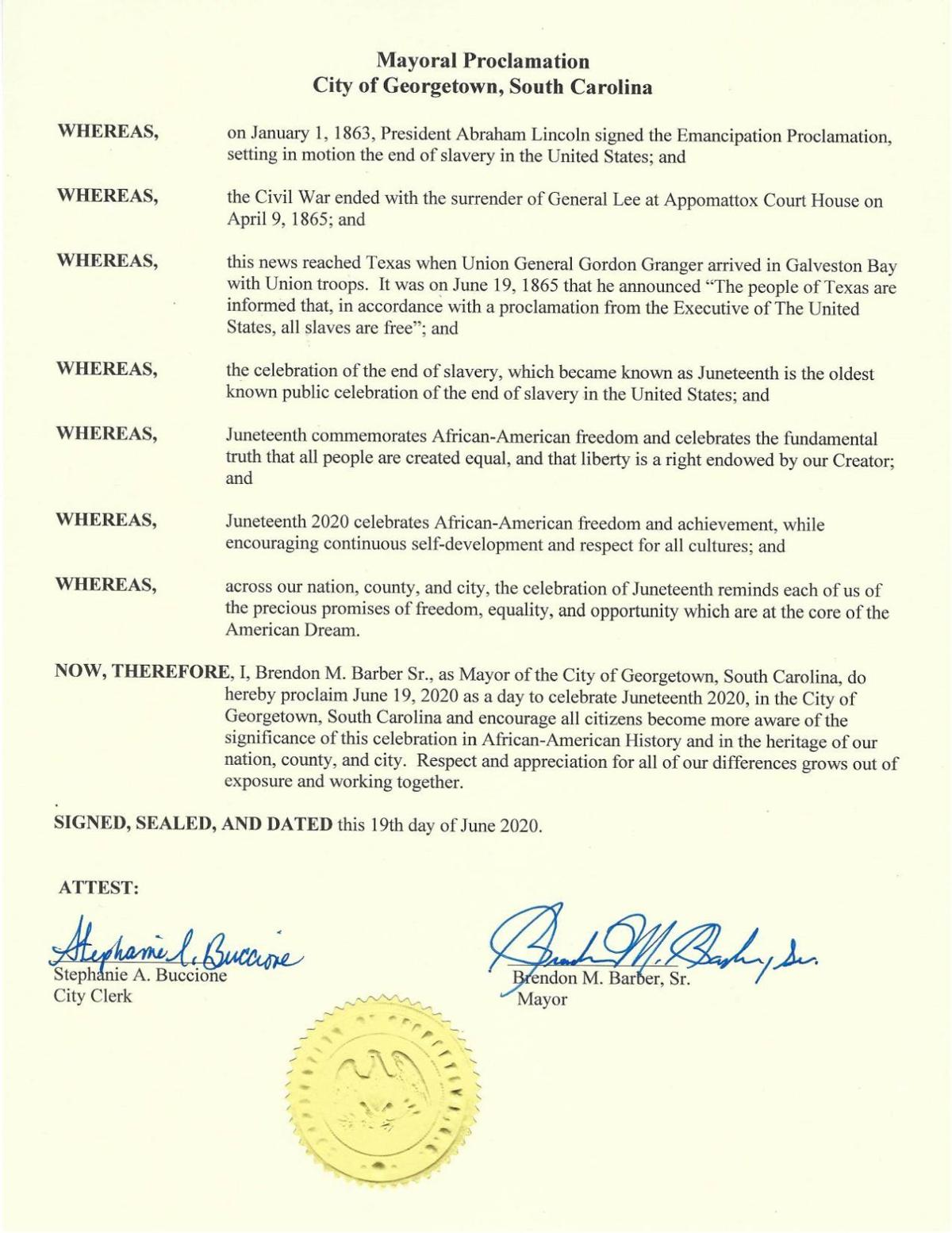 Georgetown Mayoral Proclamation Juneteenth