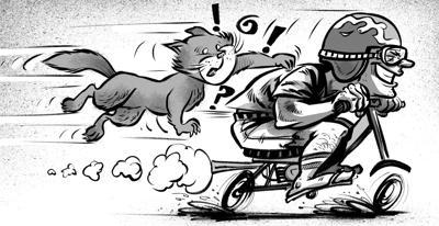 Crime Blotter Kitty on Moped