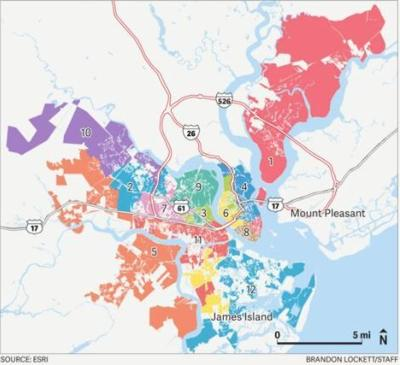Map of Charleston City Council seats drawn in 2010
