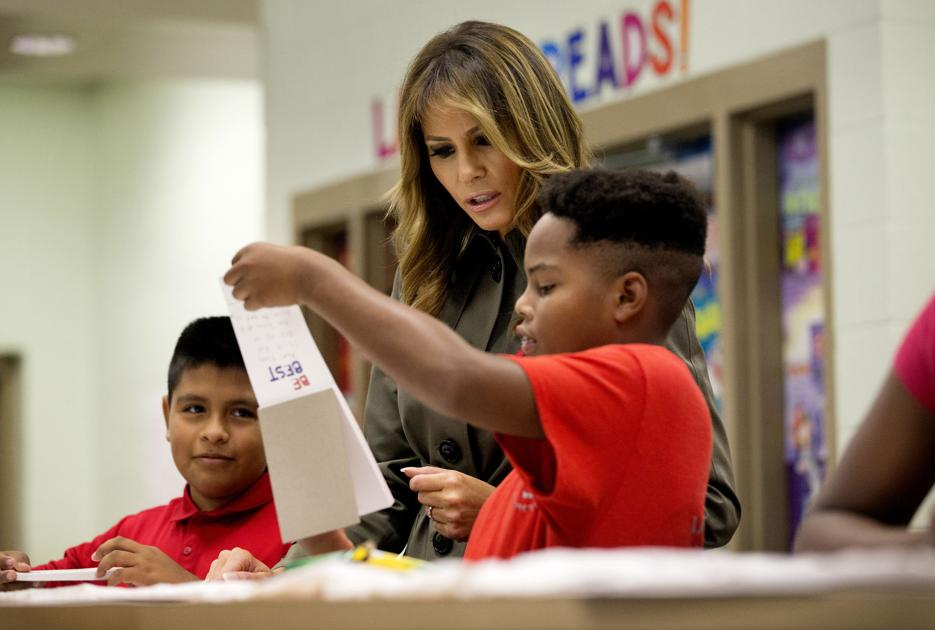 In South Carolina, Melania Trump and Karen Pence focus on kids, disaster response