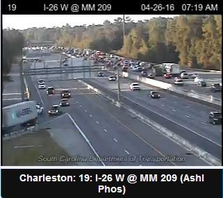 Eastbound traffic building on I-26