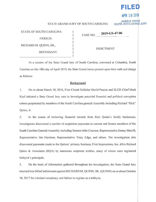 Richard Quinn perjury/obstruction indictment | | postandcourier com
