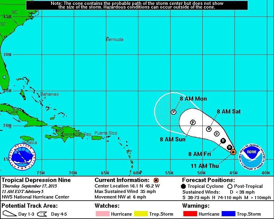 Tropical depression in the Atlantic expected to weaken