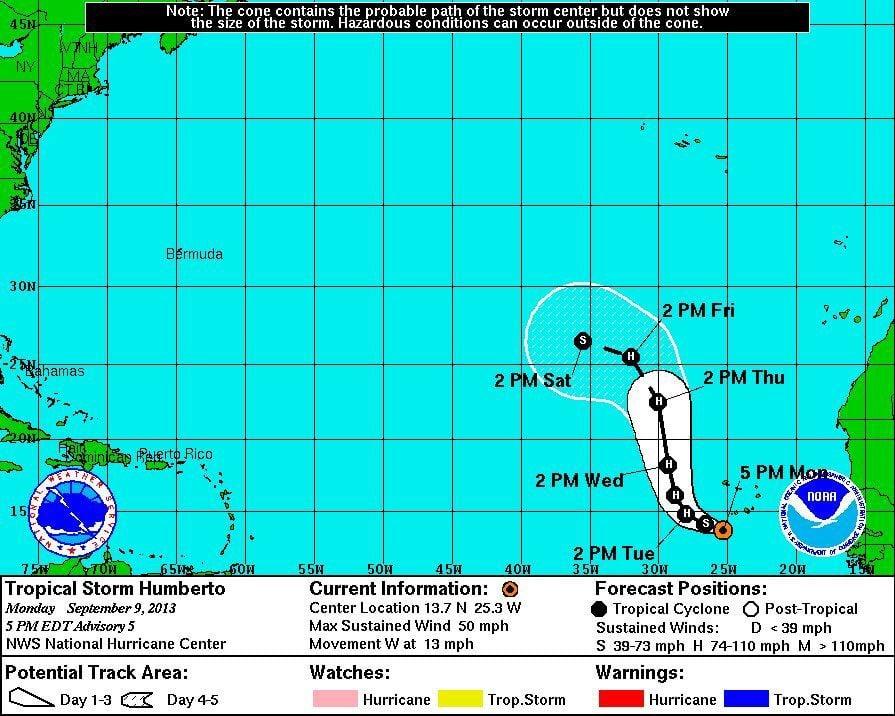 Tropical Storm Humberto strengthens in Atlantic