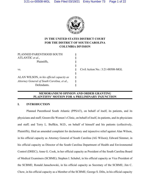 Preliminary injunction order on South Carolina abortion ban