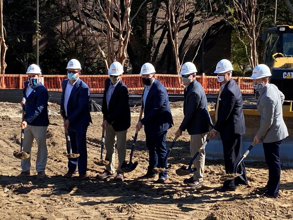 Groundbreaking at Wingo Way by officials and company executives