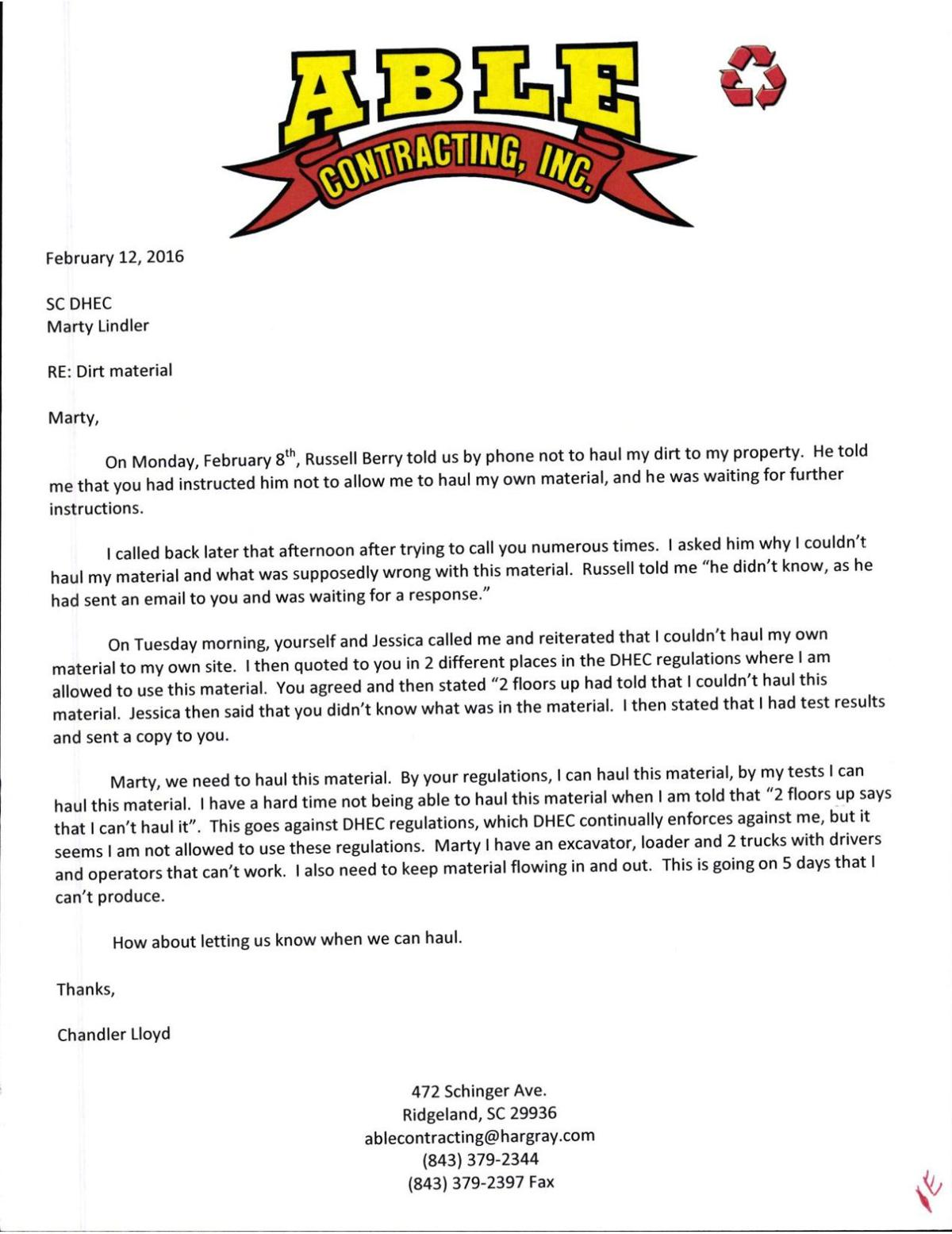 Able Contracting 2016 letter to DHEC