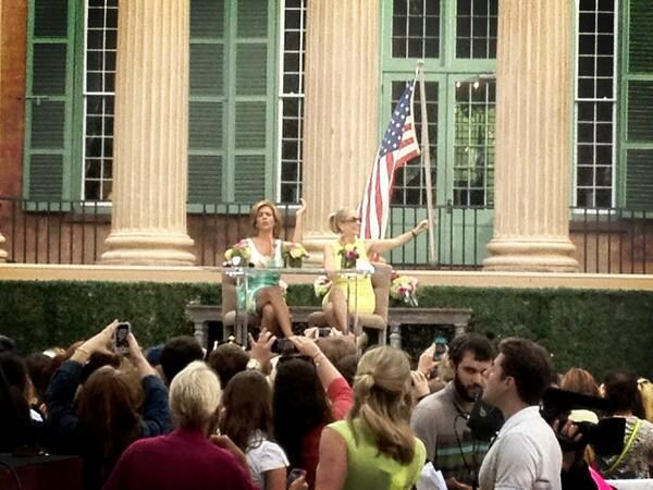 Crowds of people lined up at College of Charleston Cistern to get glimpse of NBC Today's Kathie Lee, Hoda