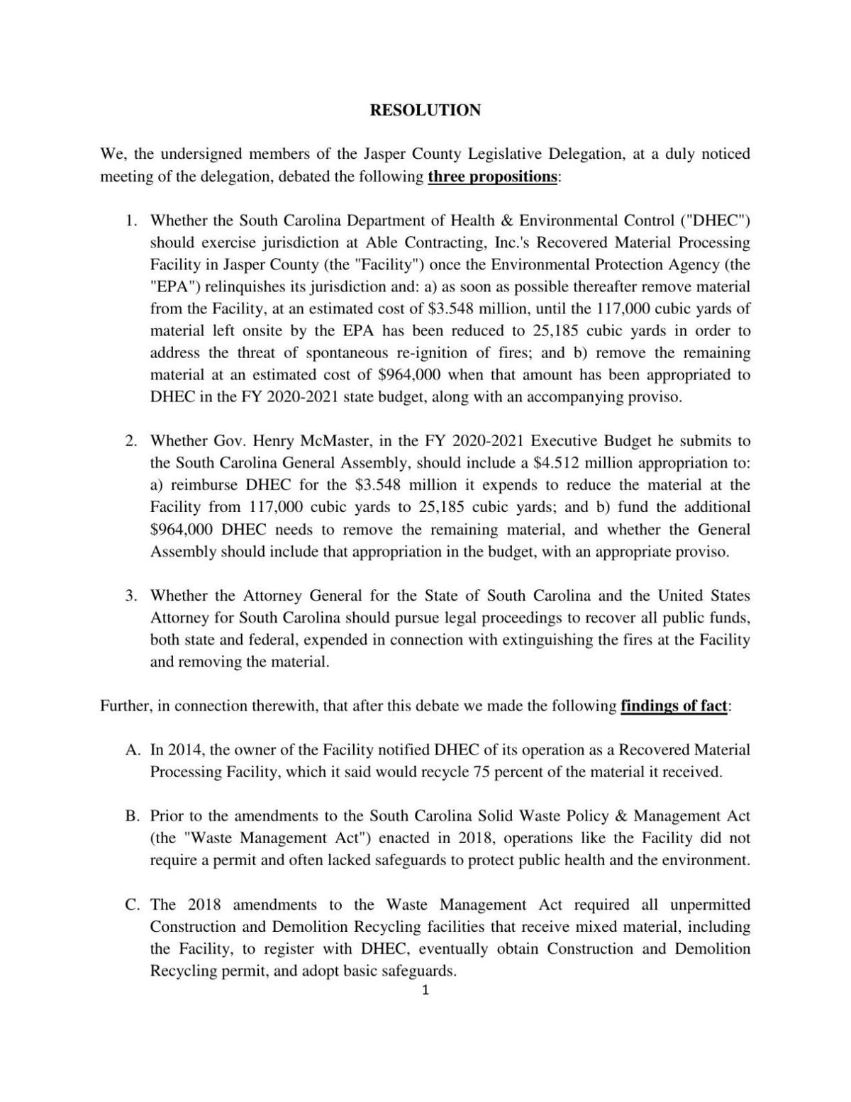 Joint resolution regarding Able Contracting cleanup
