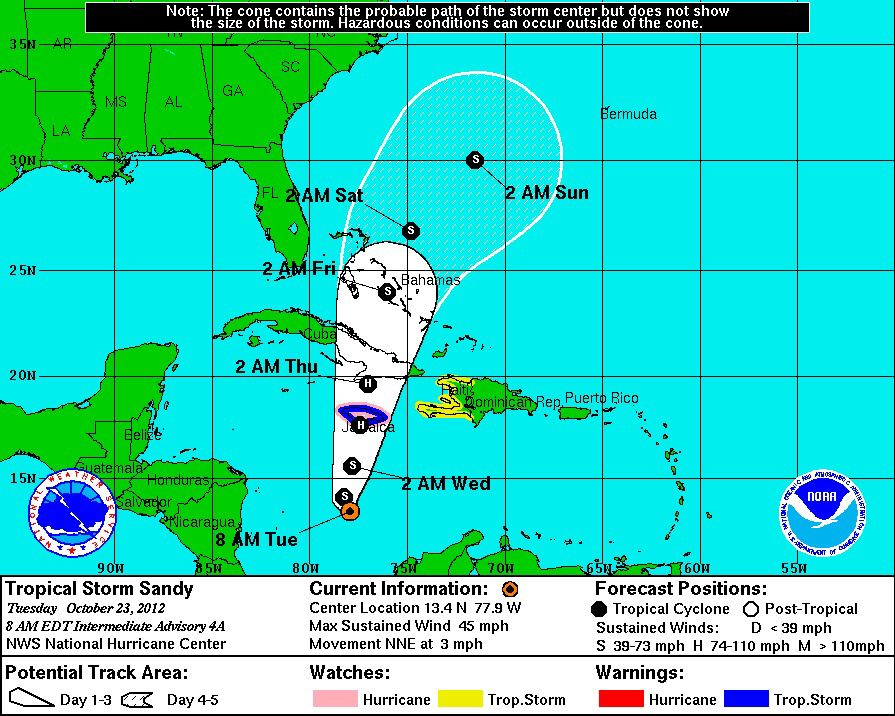 Tropical storm warning in Jamaica ahead of Sandy