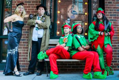 'Kris Kross' A comical cross of 'The Maltese Falcon' with Christmas themes, fruitcake