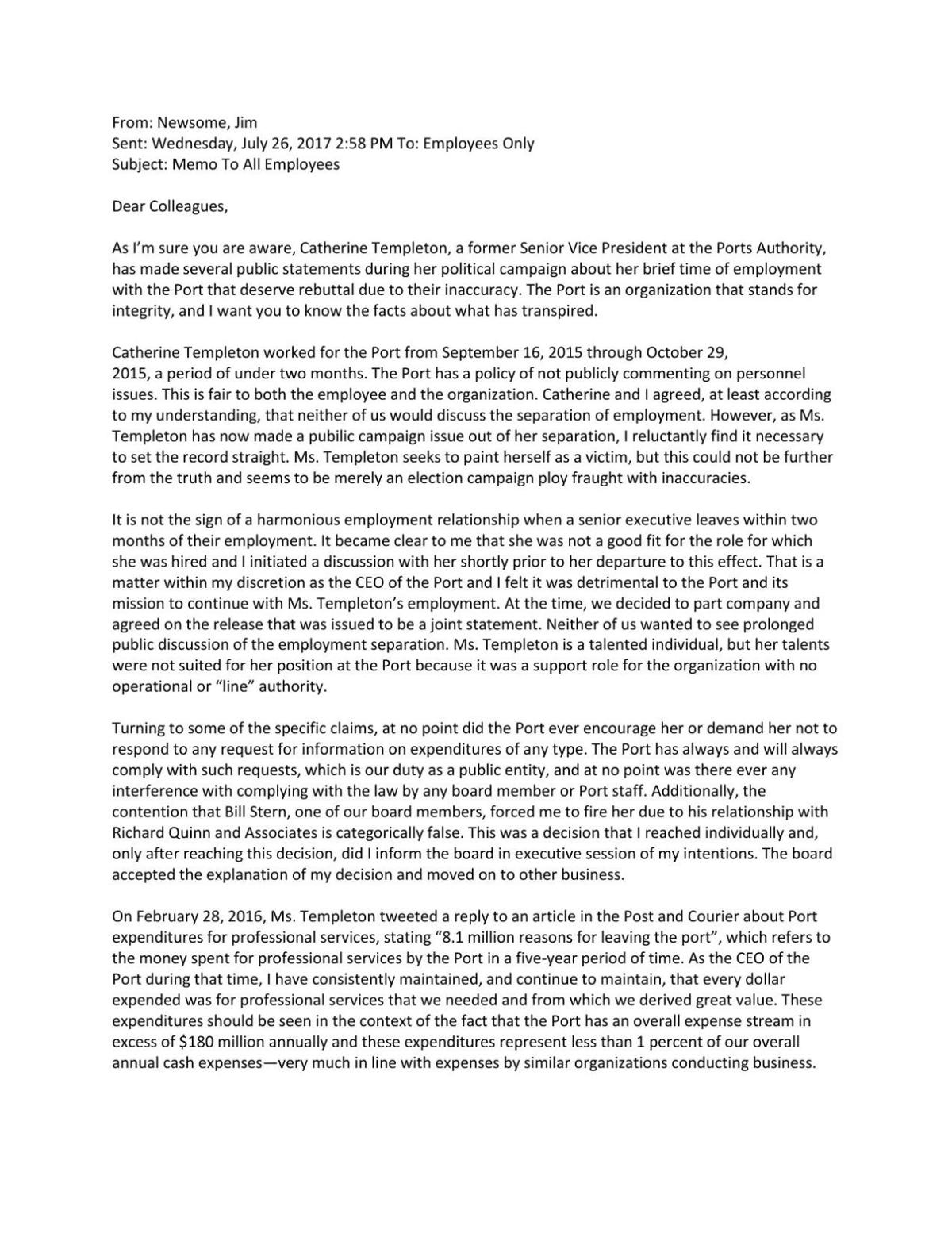 Download Pdf South Carolina Ports Authority President Jim Newsome's Email  To Employees