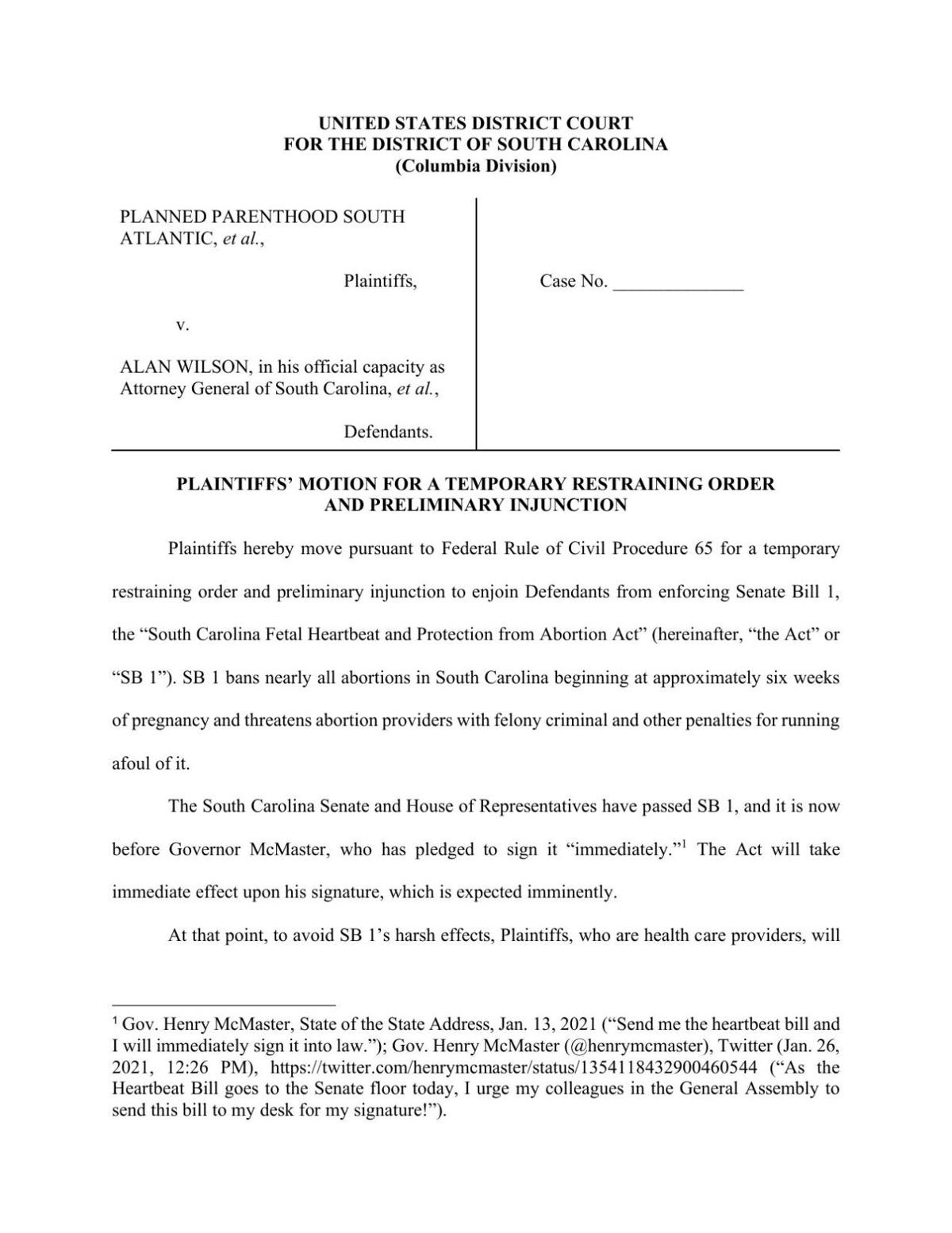 Planned Parenthood's motion for temporary restraining order