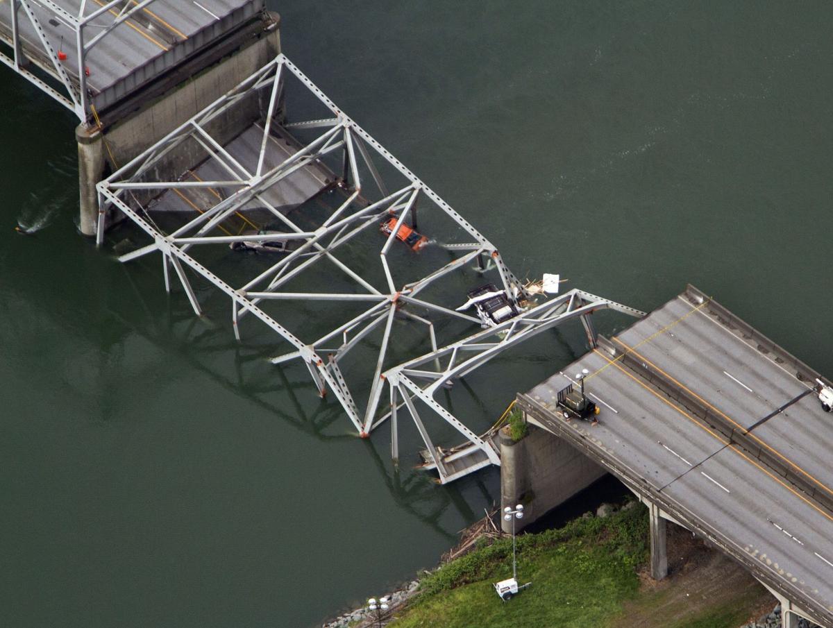 Trucker strikes bridge, sees collapse behind him