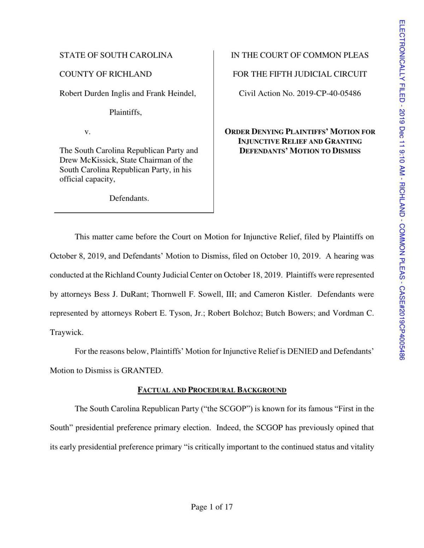 SCGOP primary lawsuit ruling