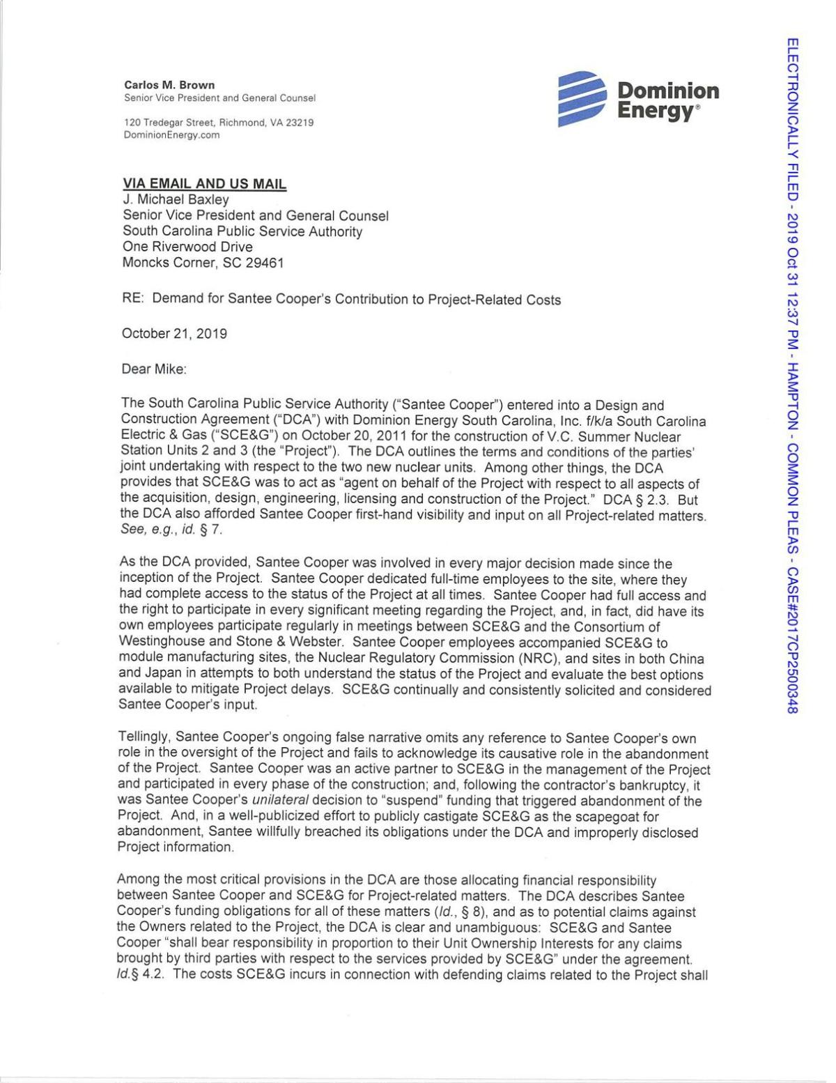 Dominion Energy letter to Santee Cooper