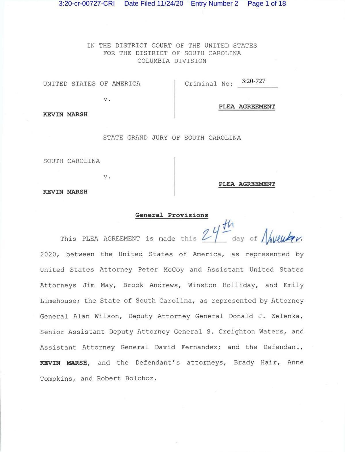 Kevin Marsh plea agreement