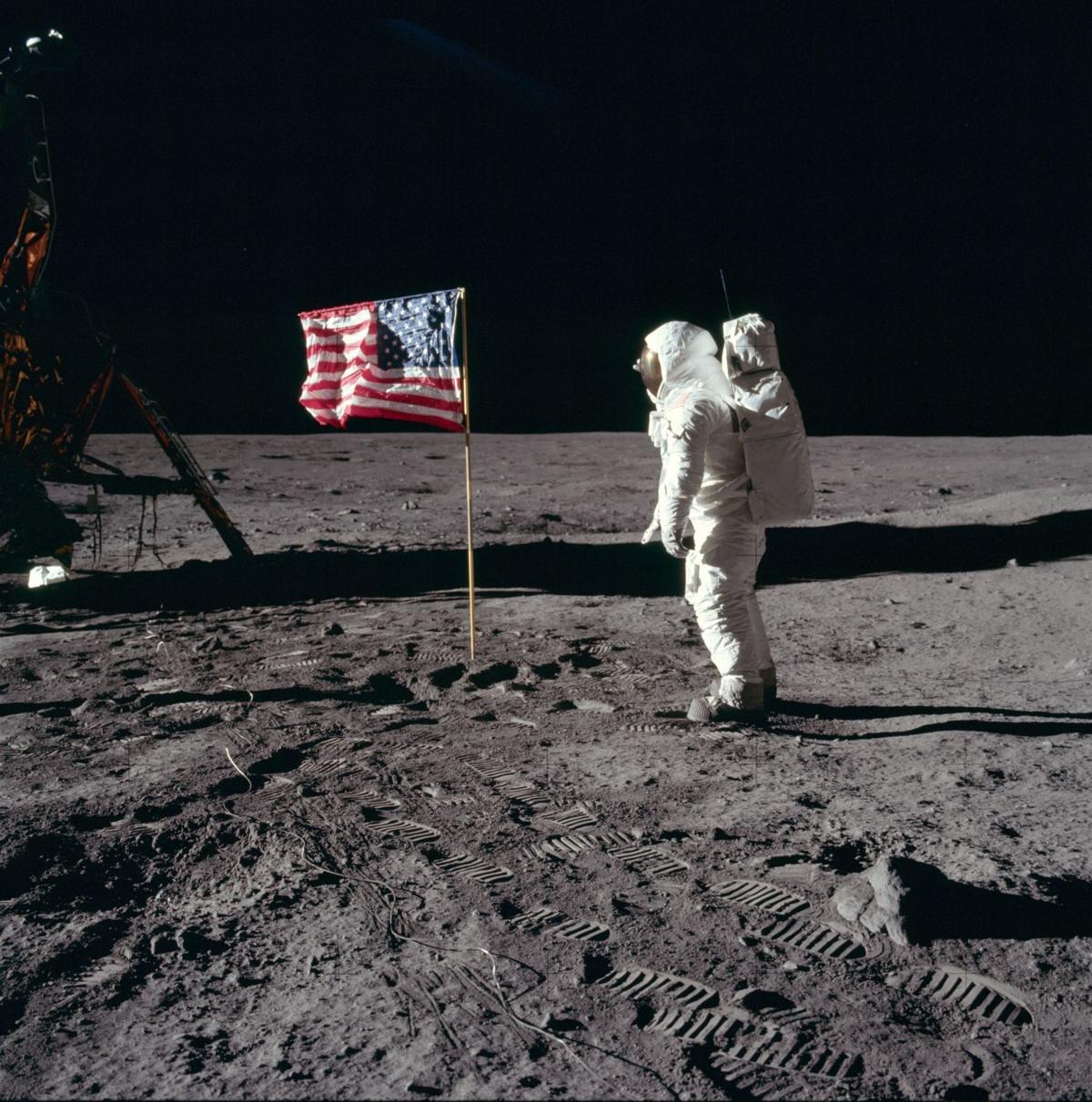 Buzz Aldrin flag moon