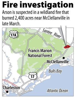 Official reports arson in wildfire near McClellanville