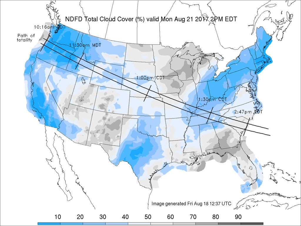 Total Solar Eclipse Weather Forecast on Path for the Day 2017