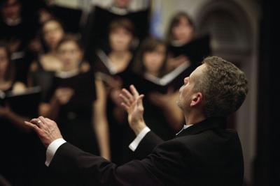Robert Taylor conducting choir