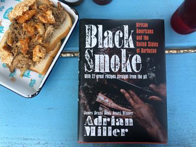 Adrian Miller's book, pictured at Rodney Scott's BBQ