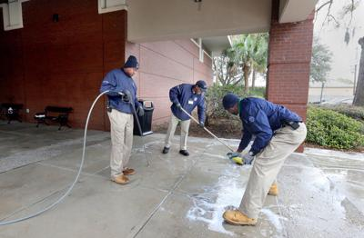 Hurd Library Graffiti Cleanup