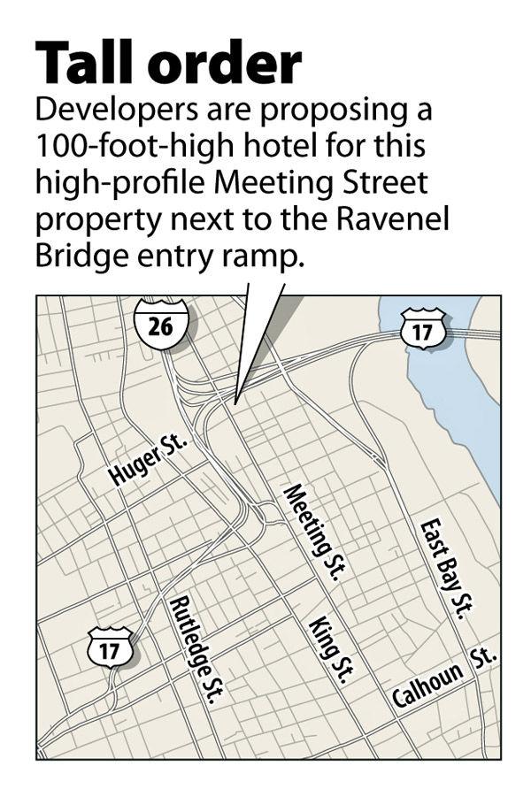 Plans for tall hotel near bridge advance