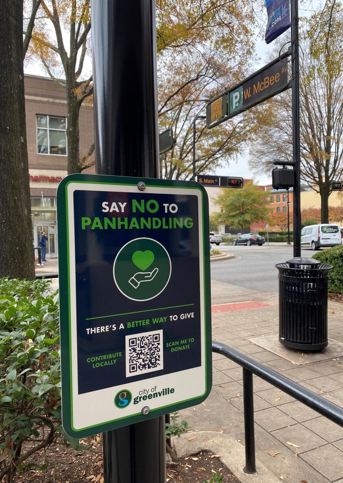 Anti-panhandling sign in downtown Greenville