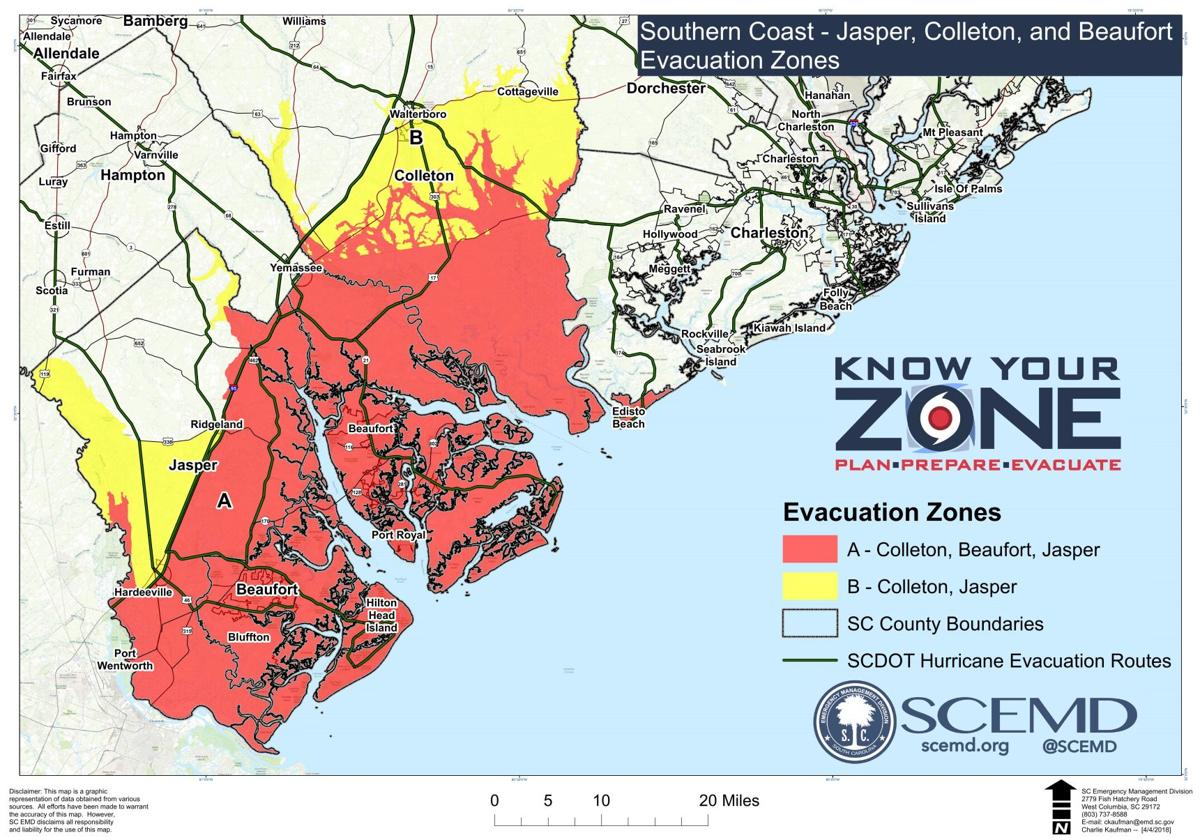 Hilton Head/Beaufort evacuation zones