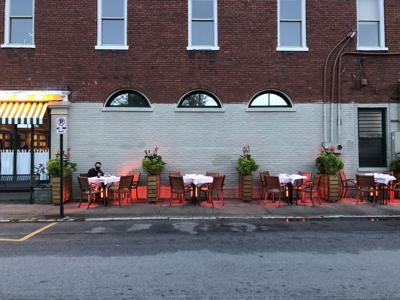 Heaters double as table bases at Melfi's