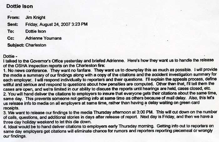E-mail detailed plan to downplay fire report