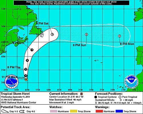 Tropical Storm Henri forms southeast of Bermuda