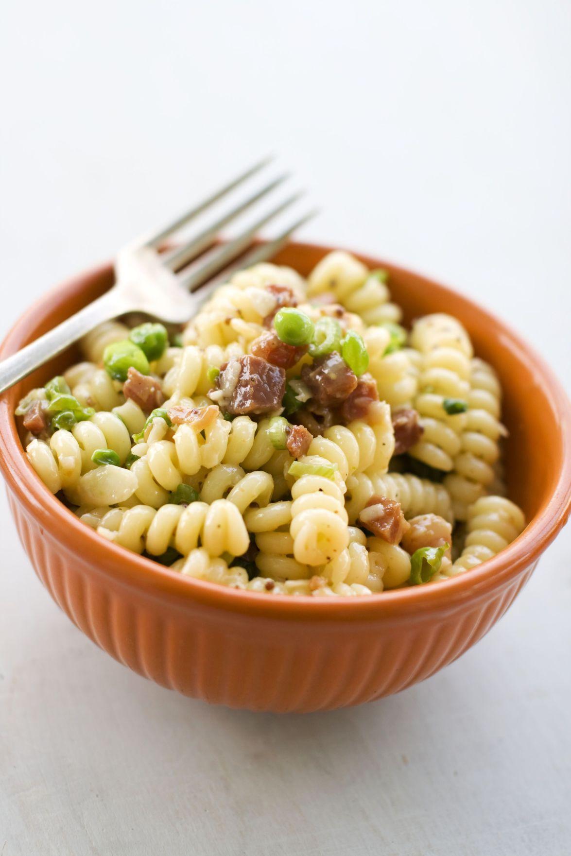 Pasta carbonara tasty summer salad