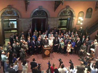 Members of the House hold press conference on gas tax