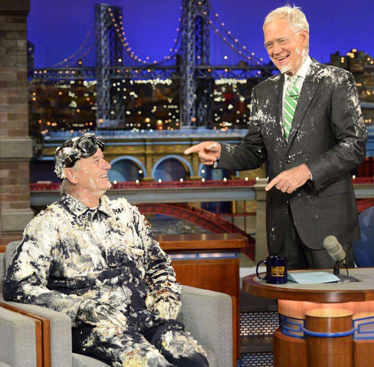 Bill Murray pops out of a cake to say goodbye to David Letterman on 'Late Show'