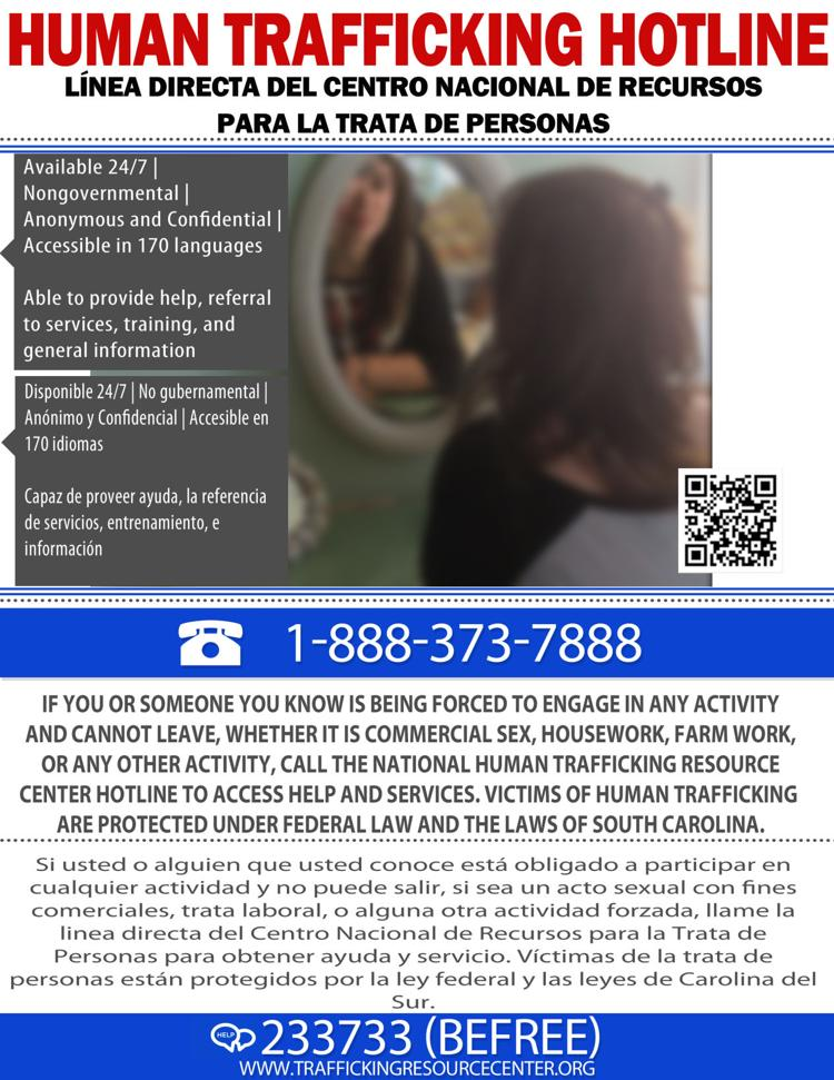 Anti-human trafficking posters placed in SC arena bathrooms during NCAA tournament