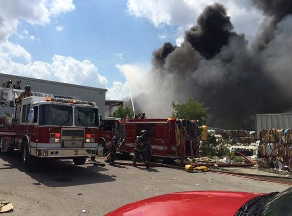 Crews fight recycling plant fire