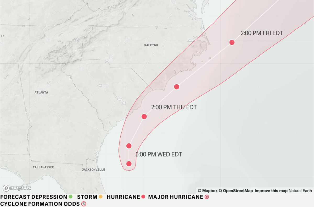 Near category 3 Dorian winds pick up on SC coast, storm is
