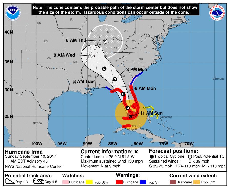 Hurricane Irma On Georgia Alabama Track But Winds Rain And Flood
