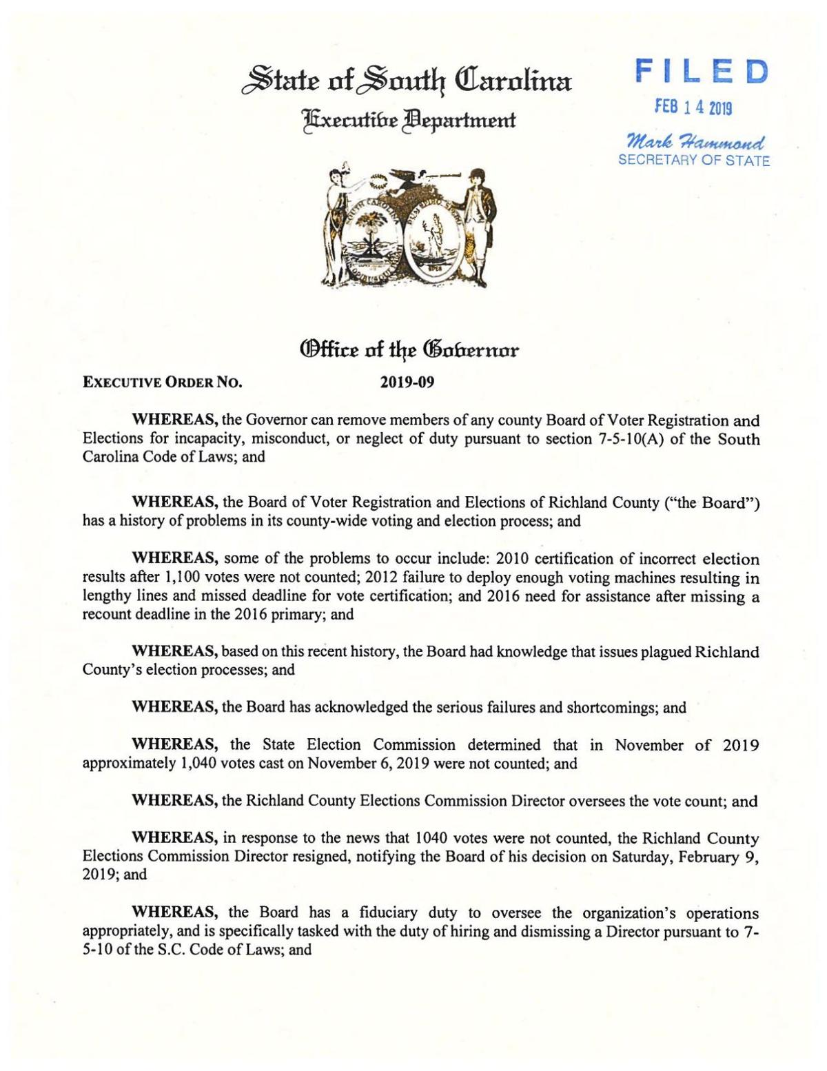 Gov. McMaster's order firing Richland County's elections board