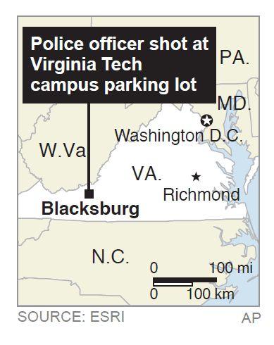 Va. Tech gunman kills officer, self