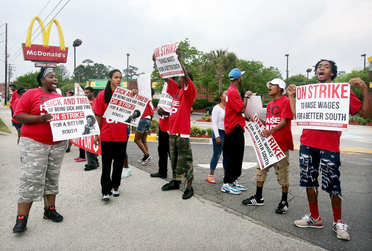 Protesters demanding higher wages block entrance to North Charleston McDonald's