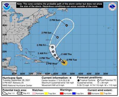 Hurricane Sam 9/28 5 a.m.