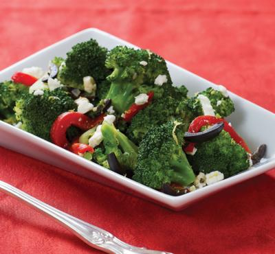 Red bell peppers brighten vegetable plate of this vibrant, meatless meal