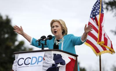 Hillary Clinton appearing at a town hall in North Charleston Thursday night (copy)