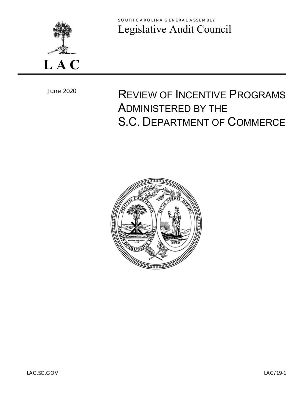Legislative Audit Council report on Department of Commerce business incentives