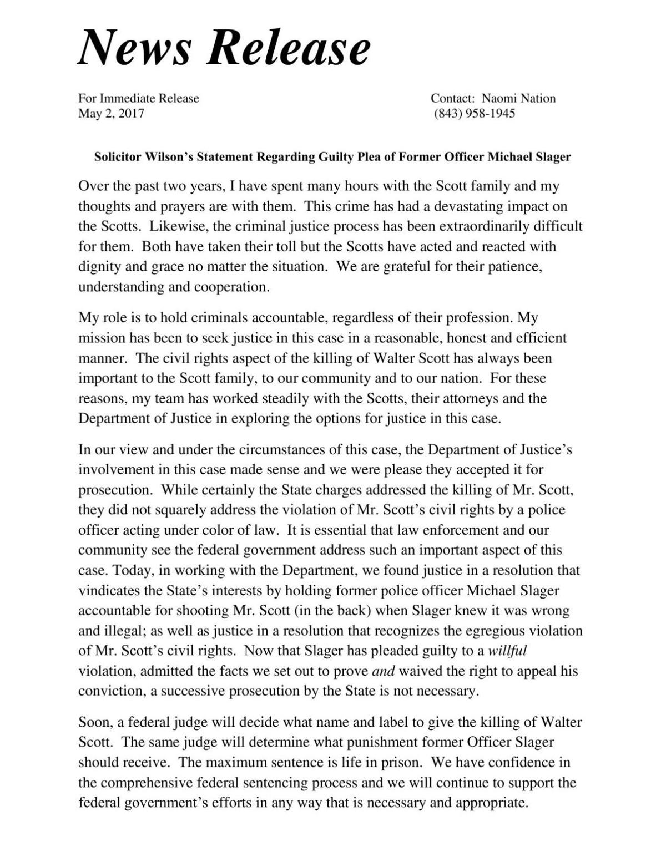 Solicitor Scarlett Wilson's statement on plea
