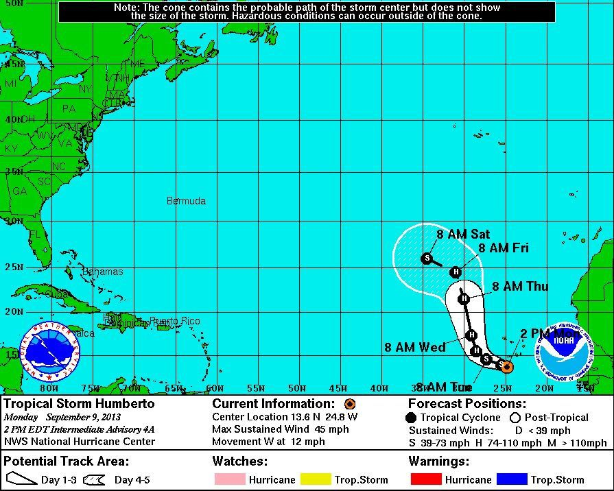 Tropical Storm Humberto forms in the Atlantic